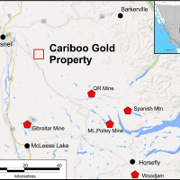 Location of the Cariboo Gold Property, BC.